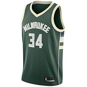 NBA MilwaukeeBucks Antetokounmpo 34 Swingman Men Jersey Hombres (Negro, XL)